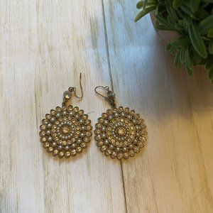 Gold Pearl and Cubic Zirconia Earrings